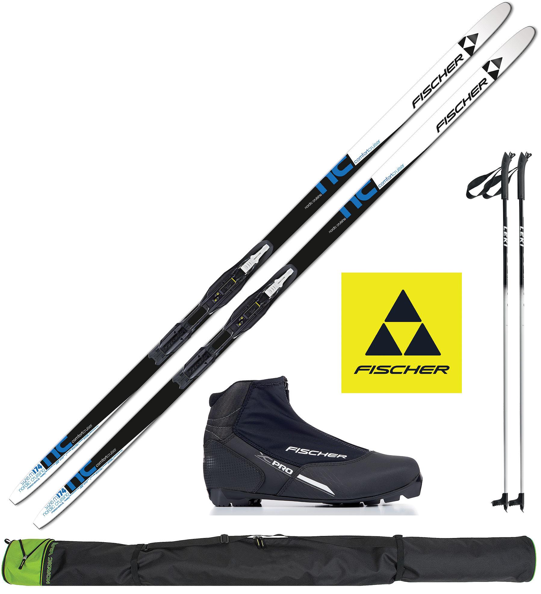 Alpin Langlaufski mit Bindung und Stöcken Ski-Sets